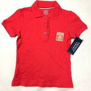 French Toast Polo Shirt Ruffle Front, Red XS 4/5